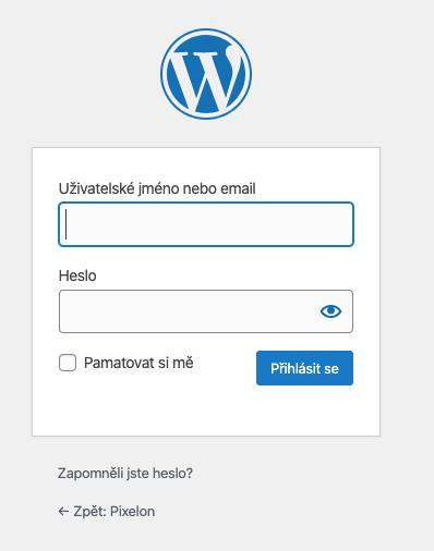 wordpress jméno a heslo